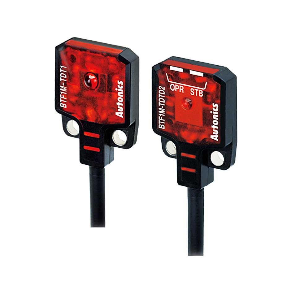 سنسور نوری دو طرفه سه سیمه NPN با تغذیه 24-12 ولت DC و فاصله تشخیص 1 میلی متری BTF آتونیکس