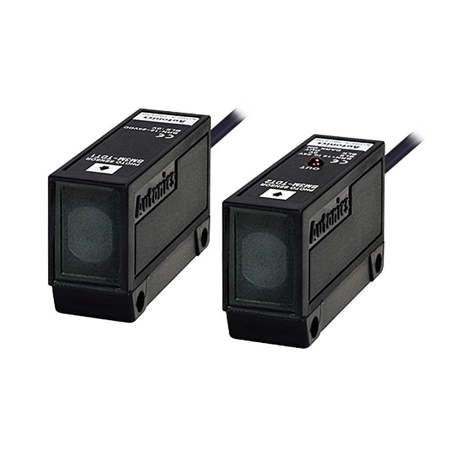 سنسور نوری دو طرفه سه سیمه NPN با تغذیه 24-12 ولت DC و فاصله تشخیص 3 متری BM3M آتونیکس
