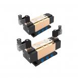 شیر برقی دو بوبین 12 ولت کنترل جهت پنوماتیک 5/2 سایز 1/2 اینچ پایدار پارس نیوماتیک