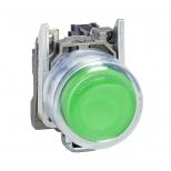 پوش باتن فلزی سبز 22 میلیمتری برآمده کنتاکت باز مدل XB4 اشنایدر الکتریک