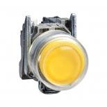 پوش باتن فلزی زرد 22 میلیمتری کنتاکت باز بازگشت فنری با سری برآمده و محافظ سیلیکن شفاف مدل XB4 اشنایدر الکتریک