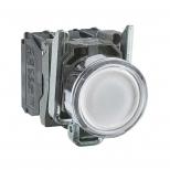 پوش باتن چراغدار فلزی سفید 22 میلیمتری یک کنتاکت باز+یک کنتاکت بسته بازگشت فنری با سری هم سطح 24 ولت AC/DC مدل XB4 اشنایدر الکتریک