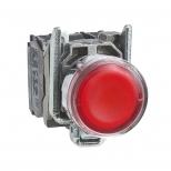 پوش باتن چراغدار فلزی قرمز 22 میلیمتری یک کنتاکت باز+یک کنتاکت بسته بازگشت فنری با سری هم سطح 24 ولت AC.DC مدل XB4 اشنایدر الکتریک