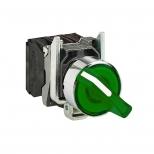 کلید سلکتوری چراغدار فلزی سبز 22 میلیمتری یک کنتاکت باز+یک کنتاکت بسته ماندگار 240 ولت AC مدل XB4 اشنایدر الکتریک