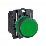 پوش باتن پلاستیکی سبز 22 میلیمتری کنتاکت باز بازگشت فنری با سری هم سطح مدل XB5 اشنایدر الکتریک