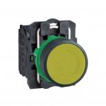 پوش باتن پلاستیکی زرد 22 میلیمتری کنتاکت باز بازگشت فنری با سری هم سطح مدل XB5 اشنایدر الکتریک
