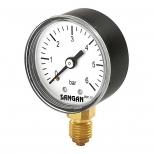 """گيج فشار صفحه 10 سانتی 6 بار (PSI 90) دنده از زیر آهنی """" BSP 1/2 سنگان  مدل PG1/A"""
